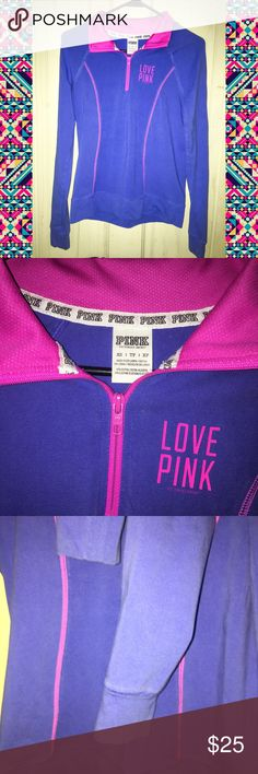 Victoria's Secret PINK Yoga Half Zip Pullover Size: extra Small (XS) does run fitted but could fit small (s) fine.  Brand: Victoria's Secret, PINK By VS  Condition: Excellent used  Details: this is very vibrant purple with neon pink. Love pink logo on chest. Half zip feature with mesh collar design. Minimal if any wash fade no piling. PINK Victoria's Secret Tops Sweatshirts & Hoodies