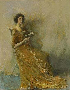 Thomas Wilmer Dewing, Portrait in a Brown Dress, 1908