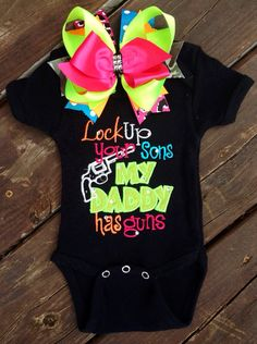 Perfect for daddys little girl! Includes bodysuit or shirt only. I can do any size, please specify size in comments when ordering.