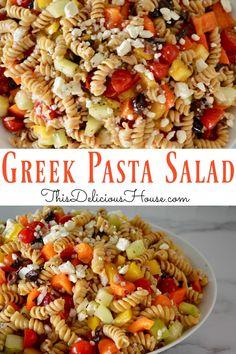 Greek Pasta Salad Easy to make Greek Pasta Salad with Kalamata olives, feta cheese, and whole grain pasta. Delicious and healthy side dish pasta salad recipe. Healthy Summer Recipes, Easy Salad Recipes, Easy Salads, Healthy Lunches, Detox Recipes, Lunch Recipes, Delicious Recipes, Greek Salad Pasta, Easy Pasta Salad