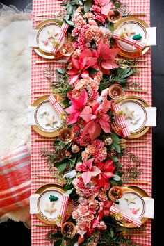 plaid and poinsettia