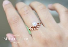 14K/18K Saltwater Akoya Pearl Engagement Ring with Halo