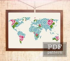 Modern cross stitch. World map cross stitch pattern. Geometric cross stitch. Floral embroidery. Planet cross stitch. Map flower chart for Earth day. Pattern includes: ◊ Color image of the finished design ◊ List of DMC colors ◊ Color symbol chart spread over several A4 sheets for