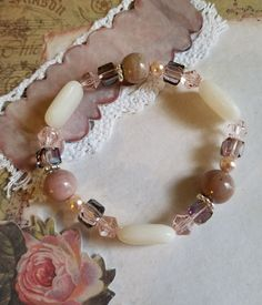 Pretty in Pink Stretch Bracelet by L Michelle Designs on Instagram