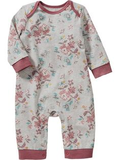 Love the subtle grey and pink tones in this one piece for the baby girl.