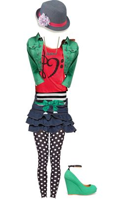 """""""Shake it up Outfit"""" by aquarius101 ❤ liked on Polyvore. Love the hat, green jacket, and polka dot tights!"""