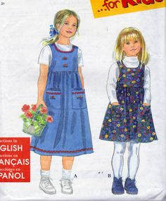 Simplicity 8340, Little Girls Size 3, 4,5,6,7,8, Jumper Pattern, Sleeveless Jumper, Gathered Skirt, Patch Pockets, Easy to Sew Pattern by OnceUponAnHeirloom on Etsy