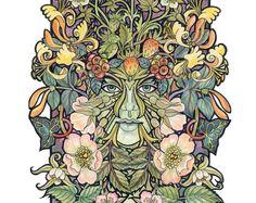 Summer green woman card