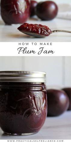 Plum Jam Recipes Easy, Jelly Recipes, Plum Jelly, Jam And Jelly, Jam Recipe Without Pectin, Plum Jam Without Pectin, Plum Varieties, Plum Preserves, Canning Peaches