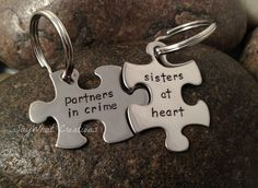 The best Friend gift ever!  Custom Hand Stamped Best Friends Puzzle Piece Key Chains SET OF TWO. $24.50, via Etsy.
