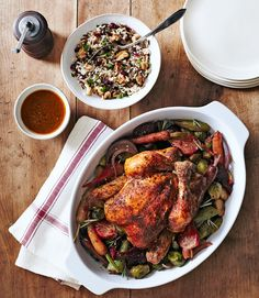 Herbed Chicken With Beets and Brussels