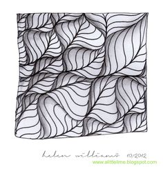 """Previous poster says: One of my favorite Zentangle artists, and an absolutely beautiful tangle. Video demonstration of """"Leaflet"""". a little lime: leaflet - video & variation Zentangle Drawings, Doodles Zentangles, Doodle Drawings, Tangle Doodle, Zen Doodle, Doodle Art, Zantangle Art, Zen Art, Doodle Patterns"""