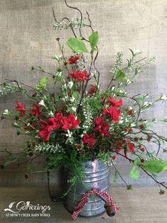 Hand-tied bouquet in a vintage flour sifter. Rustic Flower Arrangements, Rustic Flowers, Floral Centerpieces, Faux Flowers, Silk Flowers, Beautiful Flowers, Silk Arrangements, Grave Flowers, Flower Crafts
