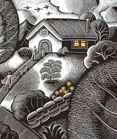 """""""The House in the Night"""" by Beth Krommes.  From Journey into Unschooling:  The House In The Night by Beth Krommes is filled with amazing scratchboard illustrations which are seemingly simple, and yet, made with an ingenious use of patterns. It is no wonder this is a 2009 Caldecott Medal winner."""