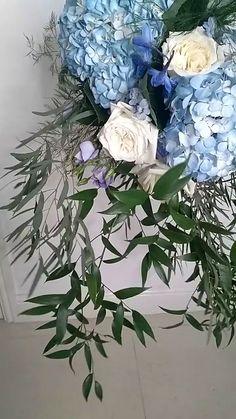 Blue trailing wedding bouquet with creamy white garden roses, blue hydrangea, purple blue delphiniums and lush greenery Hydrangea Bouquet Wedding, Spring Wedding Flowers, Wedding Bouquets, Blue Bouquet, Blue Delphinium, Delphiniums, Mint Blue Weddings, Wedding Etiquette, Garden Roses