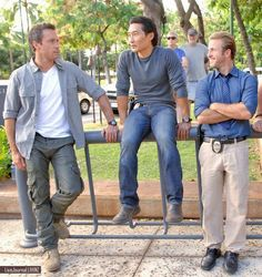 Alex Oloughlin, Daniel Dae Kim, Scott Caan from Hawaii Five-0