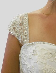 Detachable Appliqued Beaded Lace Wedding by RosemaryDesignsBride