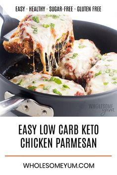 Low Carb Keto Chicken Parmesan Recipe - An easy low carb Chicken Parmesan recipe with crispy low carb breading that stays on! It's the best cheesy keto Chicken Parmesan ever, made in one pan with simple ingredients.
