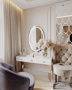 30 Modern Makeup Table Ideas to Complete Your Dream Room Bedroom Vanity With Lights, Make Up Tisch, Home Design, Interior Design, Design Ideas, Vanity Decor, Vanity Ideas, Vanity Room, Dressing Room Design