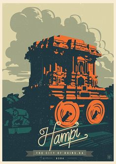 Discover India - Hampi, the City of ruins, a retro poster series by Ranganath Krishnamani. Ranganath Krishnamani, a Bangalore, India based designer and Hampi, Poster Design, Design Art, Mc Bess, India Poster, Indian Illustration, Digital Illustration, Graphic Illustration, Retro Poster