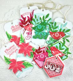 Christmas Gift Tags by Dawn McVey using Papertrey Ink Christmas Gift Wrapping, Christmas Colors, All Things Christmas, Christmas Holidays, Christmas Cards, Christmas Sheet Music, Poinsettia Cards, Paper Crafts, Diy Crafts