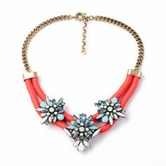 Crystal & Tangerine Cord Floral Bib Necklace MG130