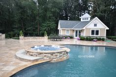 Gunite Pool Spas Natural Stone Custom Coping  http://deckandpationaturalstones.com/gunite-inground-swimming-pool.html