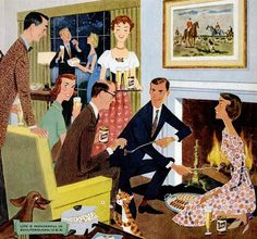 Roasting weenies, downing beer and a delightful dog. Fine artistic rendering of the good life. Life is wonderful in Schlitzerland, USA. 1958