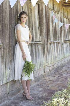 vestido noiva cropped renda saia midi barato
