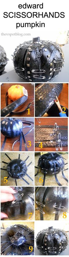DIY: Edward Scissorhands pumpkin.  Supplies include Dollar Store pumpkin, thrift store faux snake belt, safety pins and metal brads. Halloween with Tim Burton ~~ Halloween Party Decorations & Ideas
