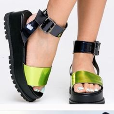 UNIF holographic seeker platform Super cute and comfy but I never wear them. Brand new UNIF Shoes Platforms