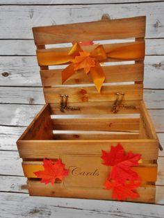 READY TO SHIP / Fall Leaves Wedding Card Box / by ThoseDays