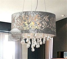 Silver Drum Shade Crystal Ceiling Chandelier Pendant Light Fixture Lighting Lamp | eBay