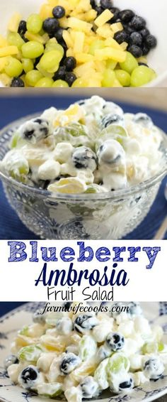 Blueberry ambrosia fruit salad is a twist on the classic creamy southern dessert recipe filled with blueberries marshmallows and other fruit 50 best fruit salad recipes Dessert Salads, Fruit Salad Recipes, Jello Salads, Dessert Recipes, Easy Fruit Salad, Creamy Fruit Salads, Baking Desserts, Dessert Food, Fruit Salad With Marshmallows
