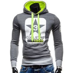 Trendy Slimming Hooded Color Block Letters Star Print Applique Design Men's Long Sleeves Hoodie-15.72 and Free Shipping| GearBest.com