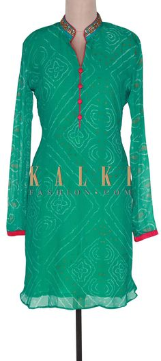 Buy Online from the link below. We ship worldwide (Free Shipping over US$100). Product SKU - 300801. Product Link- http://www.kalkifashion.com/sea-green-bandhani-kurti-with-embroidered-collar-only-on-kalki.html