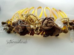 Beaded Golden brown genuine leather/ Hair comb/Fall wedding by SalmonNaturals,