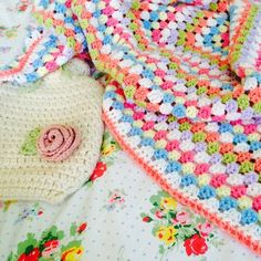 Ladybird Diaries: Colourful granny square blanket