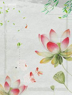 chinese style watercolor lotus advertising background Watercolor Lotus, Watercolor Flowers, Background Templates, Background Images, Chinese Wallpaper, Lotus Pond, Summer Landscape, Origami Flowers, Leaf Flowers