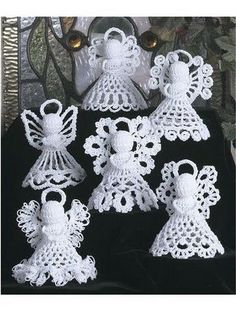 Pattern Crochet Angels Six Designs Christmas Tree Decorations Crochet Christmas Decorations, Crochet Ornaments, Christmas Crochet Patterns, Crochet Snowflakes, Angel Ornaments, Christmas Crafts, Ornament Tree, Vintage Christmas, Crochet Ornament Patterns