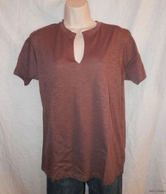 NEW NWT NATION LTD TOP OSFA S M L XL Anthropologie Dark ROSE Purple Notched Tee