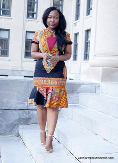 Black Dashiki Peplum Dress