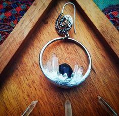 Green tourmaline and clear quartz earrings Bottle Charms, Green Tourmaline, Clear Quartz, Crystal Jewelry, Crystals, Earrings, Accessories, Ear Rings, Stud Earrings