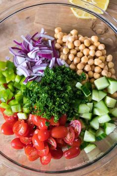Chickpea Salad combines all of my favorite fresh vegetables in one delicious bite. Chickpeas are combined with juicy tomatoes, refreshing cucumbers and creamy avocados all tossed in an easy homemade lemon kissed dressing. Vegetable Recipes, Vegetarian Recipes, Cooking Recipes, Healthy Recipes, Clean Eating, Healthy Eating, Chic Pea Salad, Fresh Vegetables, Summer Salads