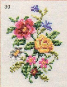 Cross Stitch Rose, Cross Stitch Flowers, Flower Tower, Crewel Embroidery, Small Flowers, Cross Stitch Designs, Needlework, Crochet, Butterfly Cross Stitch