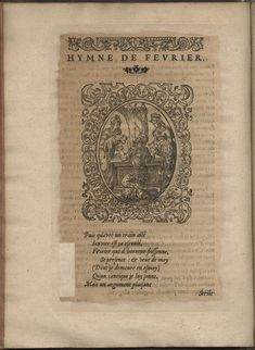 Hymne de Février. Hymnes du temps et de ses parties, Lyon, Jean de Tournes, 1560, in-4, exemplaire remonté (BmL, Rés 373727, p. 38).