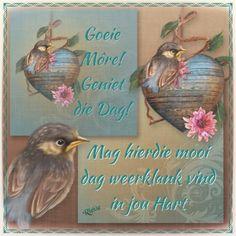 Morning Blessings, Good Morning Wishes, Lekker Dag, Goeie Nag, Goeie More, Afrikaans, Qoutes, Blessed, Bird