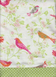 Pink Orange Birds Dogwood Flowers waverly fabric by yoursewingroom