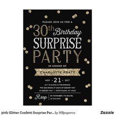 30th Glitter Confetti Surprise Party Invitation