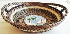 Escape from the stresses of the world when you look at the base of your pine needle basket. Pine Needle Basket With Beach Scene Native American Inspired Basket Gift For Him Gift For Her Housewarming Gift Basket With Handles OOAK by CruisinCreations on Etsy